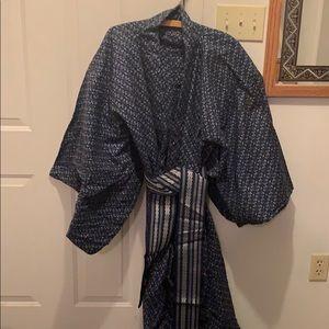 Men's Flannel Kimono with Belt
